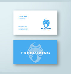 freediving abstract scuba diving sign or vector image