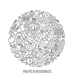 Fruits vegetables food in circle - concept line vector