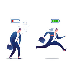 full energy and tired businessman stressed vector image
