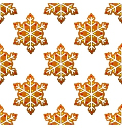 Gingerbread snowflakes seamless pattern vector