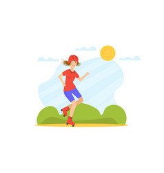 girl rolling on roller blades young woman doing vector image