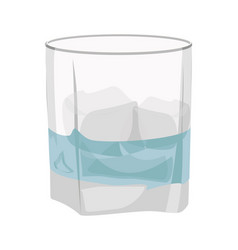 Glass of gin tonic with ice isolated on white vector