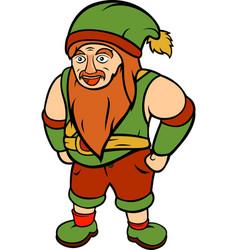 green happy gnome vector image vector image