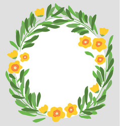 hand drawn flowers and leaves with circular border vector image