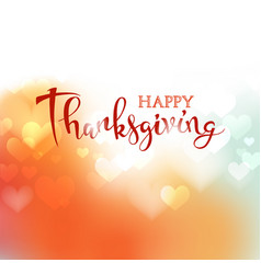hand drawn happy thanksgiving lettering on blurred vector image