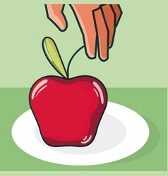 Hand grabbing apple vector