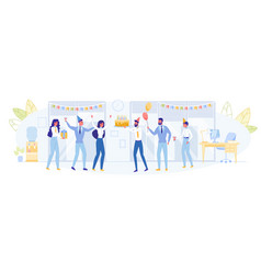 happy business team celebrating birthday in office vector image