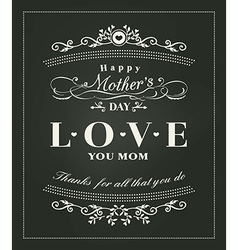Happy mothers day typography design on blackboard vector image