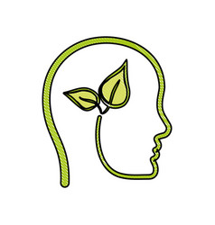 head with leaves icon vector image