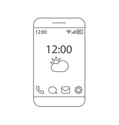 home screen smartphone interface outline vector image