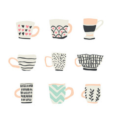 huge set with cups of coffee vector image