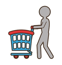 Human figure with shopping cart vector