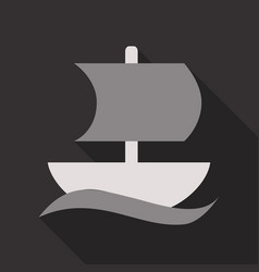 isolated sailboat icon flat style with shadow vector image