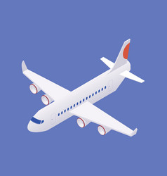 Isometric airplane in flight without landing gear vector
