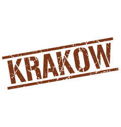 Krakow brown square stamp vector