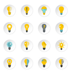 lamp logo icons set in flat style vector image