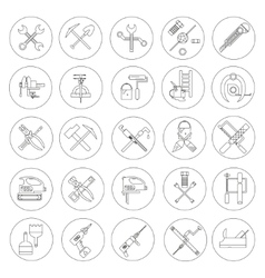 Line working tools for construction building and vector image