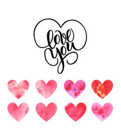 Love you hand written brush lettering with hearts vector