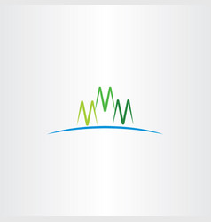 M letter green mountain icon vector