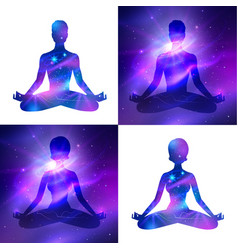 meditation on space background vector image