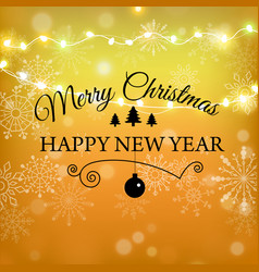 merry christmas gold glitter lettering design vector image