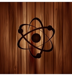 Molecule atom iconWooden background vector
