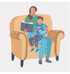 mom reading for little son vector image