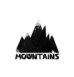 mountains lettering the text watercolor vector image