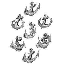 Nautical heraldic icons of ship anchor vector