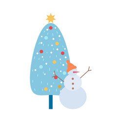 papercard with snowman and christmas tree vector image
