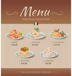 Pasta restaurant menu design template vector