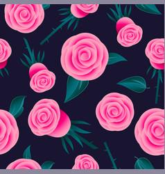 Pink roses seamless pattern flowers leaves vector