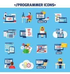 Programmer Flat Color Decorative Icons Set vector