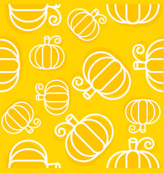 pumpkin seamless pattern outline vegetable vector image