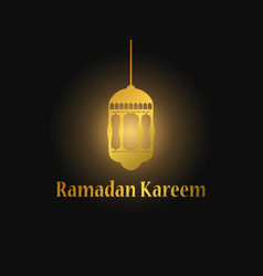 ramadan kareem gold arabic lamp on black vector image