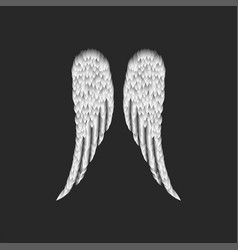 Realistic folded pair angel wings vector