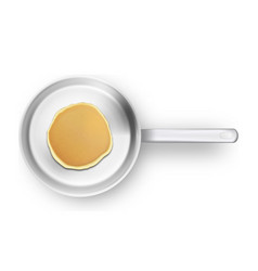 realistic pancake in the frying pan closeup vector image