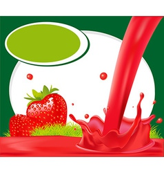 red splash of strawberry juice in green frame - vector image