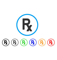 Rx symbol rounded icon vector