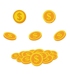 Set icon coins and money lots gold coins vector