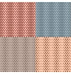 Set knitted pattern woolen cloth knit texture vector