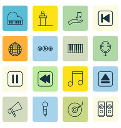 Set of 16 music icons includes rostrum note vector