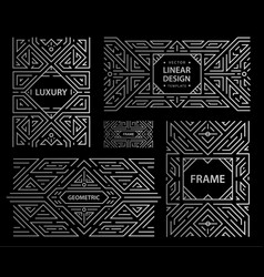 set of art deco frames abstract geometric vector image