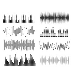 Set of sound music waves audio technology musical vector