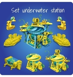 Set station underwater submarine motorcycle vector image