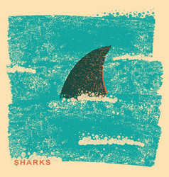 Shark fin in oceanvintage poster on old paper vector
