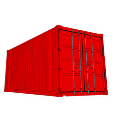 shipping container isolated on white vector image
