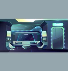Spaceship comfortable crew cabin interior vector