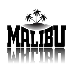 T shirt typography graphics Malibu Beach vector