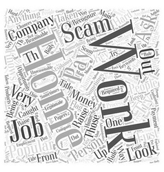 The Number One Work At Home Scam Explained Word vector image